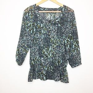 Apt. 9 floral peasant blouse sheer black blue Med